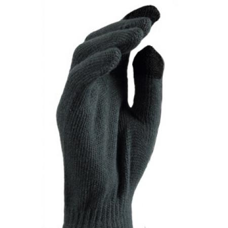 Gebreide Touchscreen Handschoenen Grijs met Zwart-0