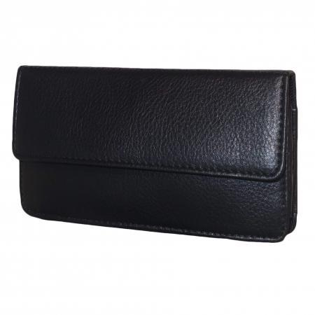 Leather Design Mobiel / Smartphone Houder Zwart-18217