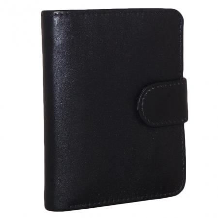 Leather Design Pasjeshouder Billfold met Drukknoop-0