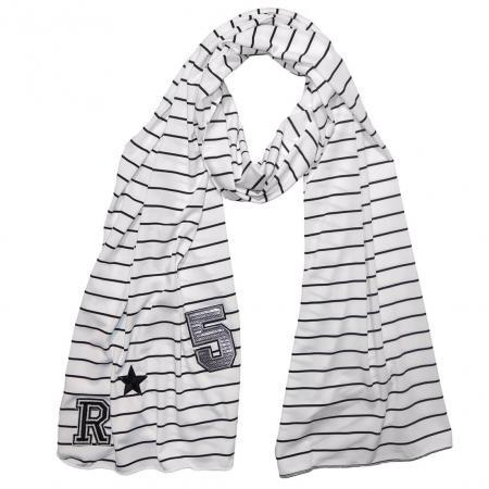 Langwerpige Sjaal Wit/Zwart met Patches-0
