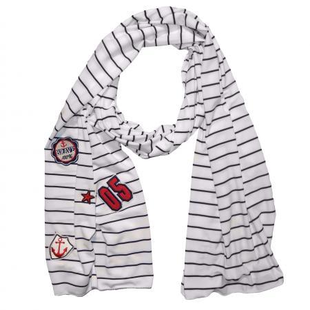 Langwerpige Sjaal Wit/Zwart met Patches-19650