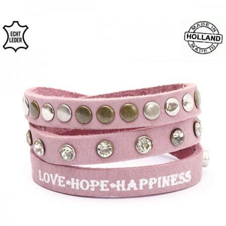 Echt Leren Love Hope Happiness Armband Roze-0