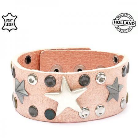 Echt Leren Dames Armband Sterren Roze-0