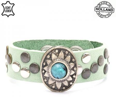 Echt Leren Dames Armband met Turquoise Steen Groen-0