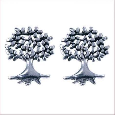 Zilveren Oorbellen / Oorstekers Levensboom-0