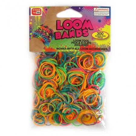 Loom Zakje met 300 Multi Kleuren Elastiekjes en 11 S-Clips-0