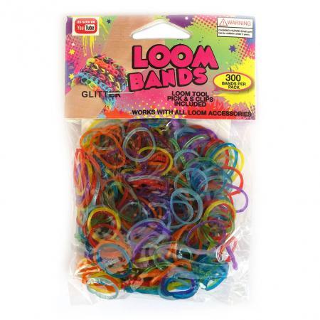 Loom Zakje met 300 Glitter Elastiekjes en 11 S-Clips-0
