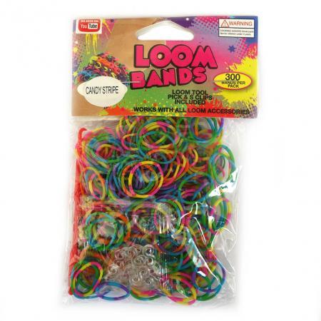 Loom Zakje met 300 Candy Stripe Elastiekjes en 11 S-Clips-0