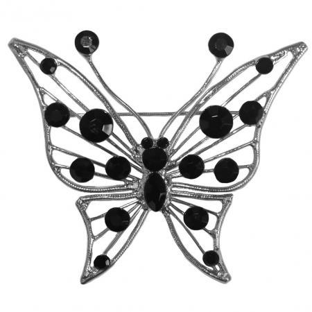 Broche Vlinder met Zwarte Strass-0